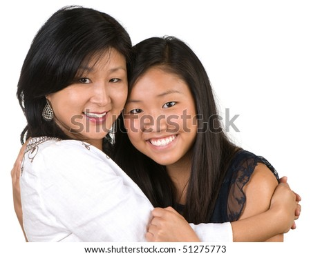 Mother and daughter enjoying being together - stock photo
