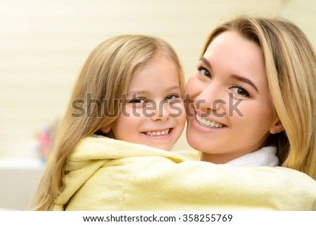 Mother and daughter expressing love  - stock photo