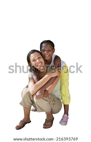 Mother and daughter, girl embracing woman, smiling, portrait, cut out