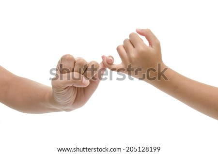 Mother and daughter hands promise isolated - stock photo