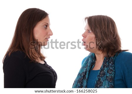 mother and daughter having a disgreement - stock photo