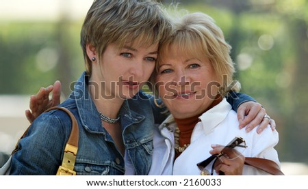 Mother and daughter having a good time together - stock photo