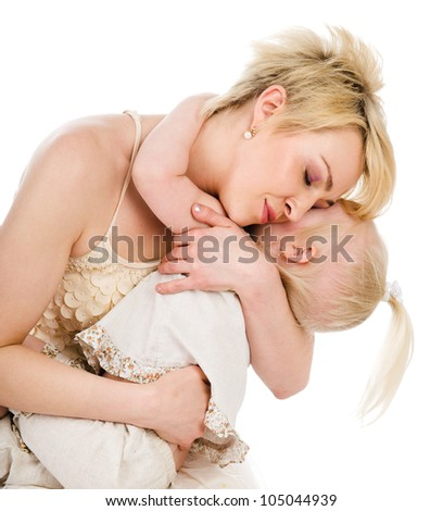 Mother And Daughter. isolated on white background - stock photo