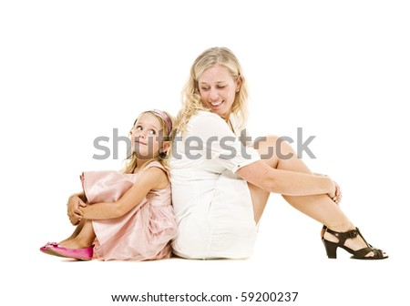 Mother and daughter isolated on white background - stock photo