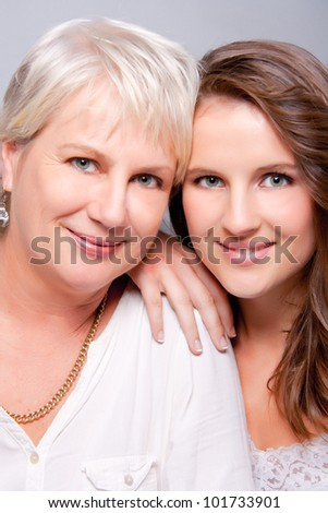 Mother and daughter keeping company - stock photo