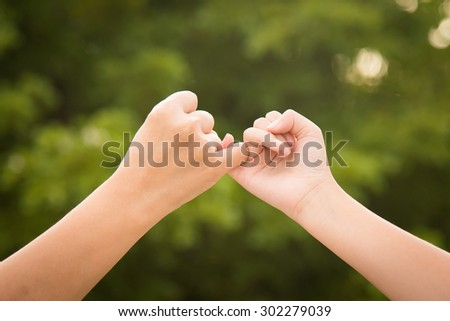 Mother and daughter making a pinkie promise on nature background
