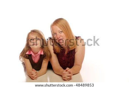 Mother and daughter on an isolated background - stock photo