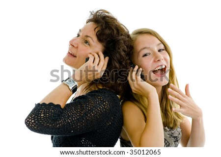 mother and daughter on the phone, isolated on white