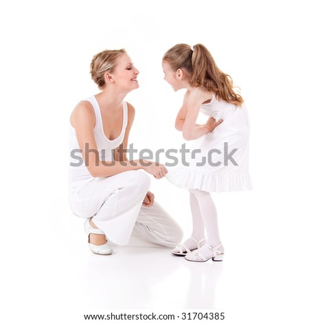 Mother and daughter on white background - stock photo