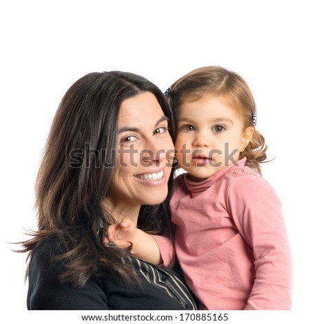 mother and daughter over isolated white background - stock photo