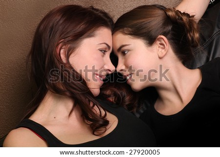 Mother and Daughter Playfully Looking Each Other in the Eye