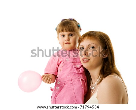 mother and daughter playing together isolated on white