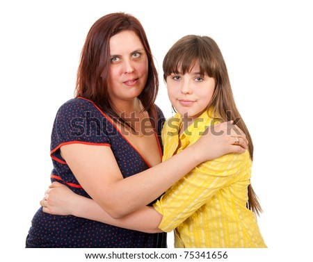 Mother and daughter portrait isolated on white background - stock photo