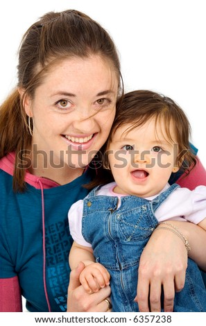 mother and daughter portrait isolated over a white background