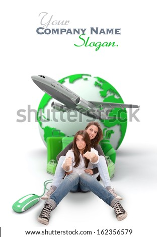 Mother and daughter pretending to drive with an online international travel booking background