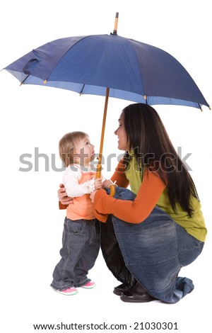 mother and daughter protecting by umbrella. over white background - stock photo