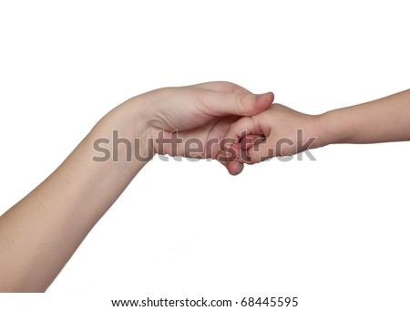 Mother and daughter's hands on white - stock photo