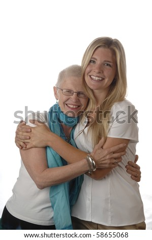 Mother and daughter share some tender moments. - stock photo