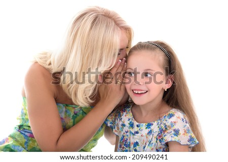 mother and daughter sharing gossiping isolated on white background