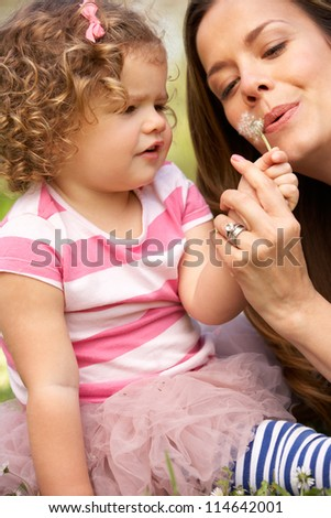 Mother And Daughter Sitting In Field Blowing Dandelion - stock photo