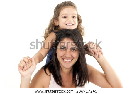 Mother and daughter, studio shot . - stock photo