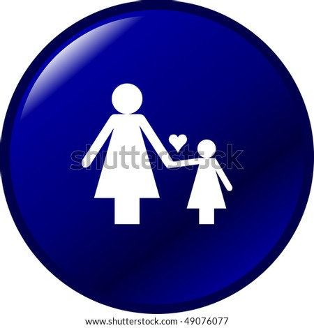 mother and daughter symbol - stock photo