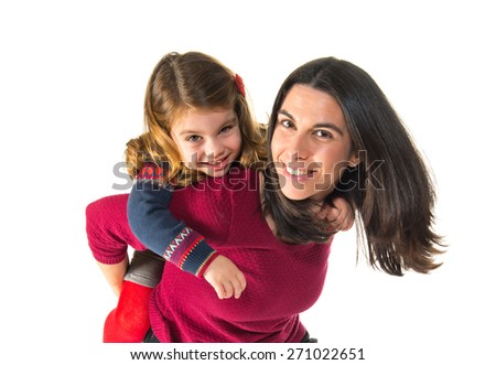 Mother and daughter together - stock photo