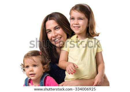 Mother and daughters in studio