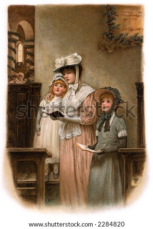 Mother and daughters worshipping in church on Christmas eve - a circa 1899 vintage illustration.