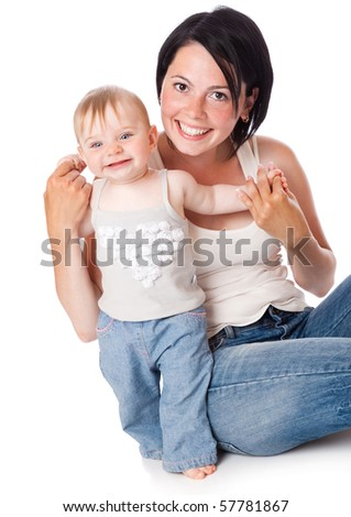 Mother and doughter. Isolated on white background - stock photo
