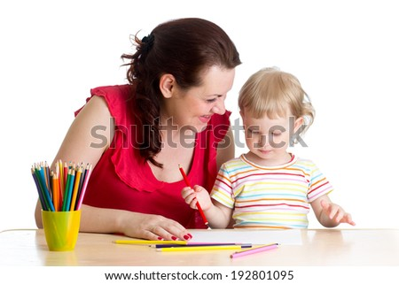 mother and her child girl pencil together - stock photo