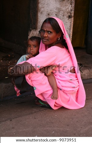 mother and her child india - stock photo