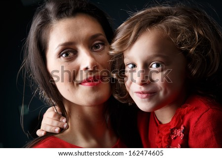 Mother and her daughter in an artistic portrait