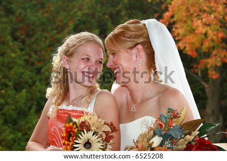 Mother and her daughter on her wedding day. - stock photo