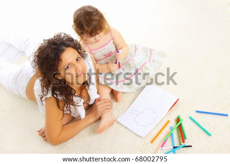 Mother and her little daughter spend time together.
