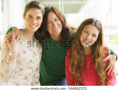 mother and her two daughters - stock photo
