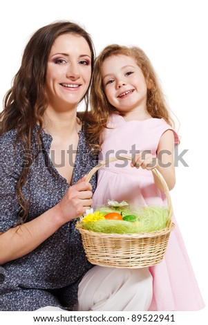 Mother and kid holding Easter basket - stock photo