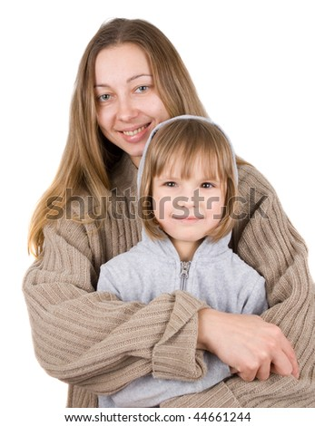 mother and little daughter on a white background