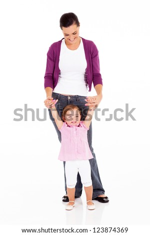 mother and little daughter on white - stock photo