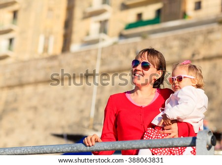 mother and little daughter travel in Malta