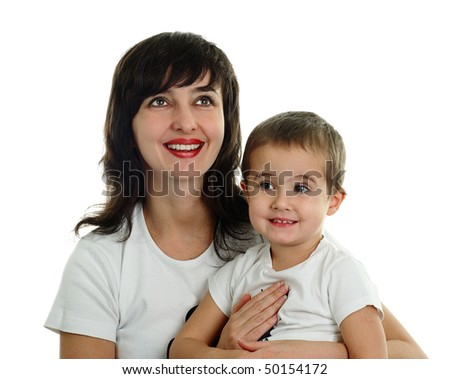 Mother and little son in t-shirts smiling, isolated on white