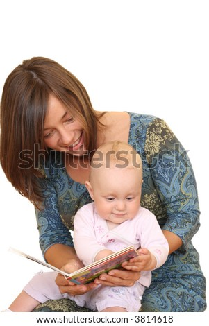 mother and 8 months baby girl reading book together isolated on white