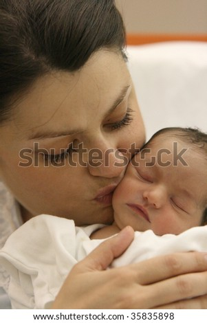 mother and new born baby love and tenderness