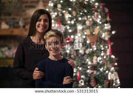 Mother and son Christmas portrait