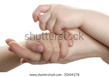 Mother and son, daughter hand together love family sign