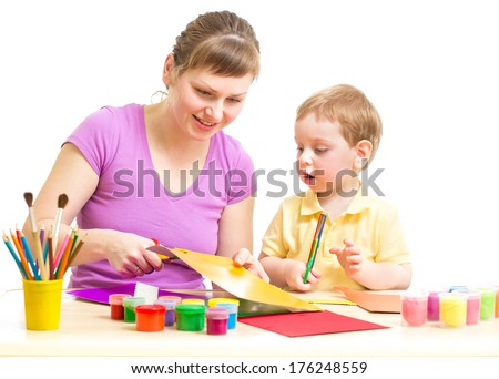 Mother and son DIY  together isolated on white - stock photo