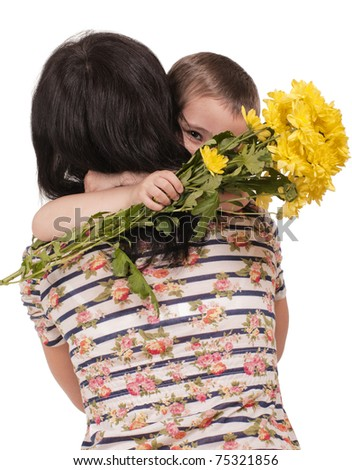 Mother and son embrace with flowers isolated on white - stock photo