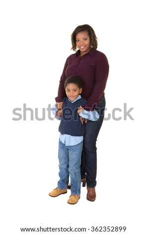 Mother and son embracing isolated on white - stock photo
