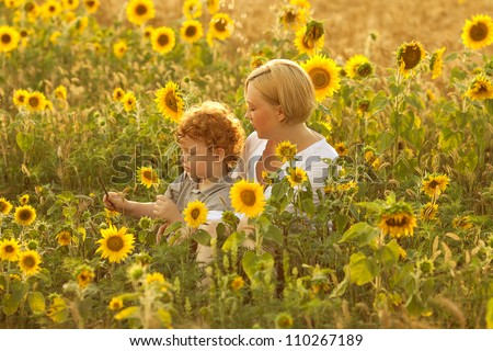 Mother and Son Having Fun in the field of sunflowers. outdoor shot. - stock photo