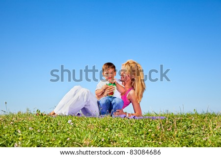 Mother and son having fun on meadow in summer day - stock photo